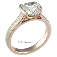Mokume Cathedral Solitaire Engagement Ring