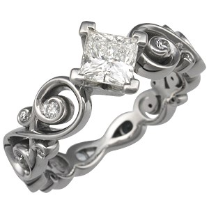 Contemporary Infinity Engagement Ring with Princess Cut Diamond