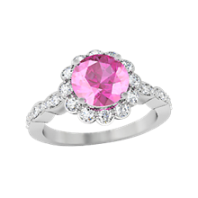 Scalloped Flower Engagement Ring with Pink Sapphire
