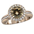 Champagne Diamond in Rose Gold Halo Engagement Ring