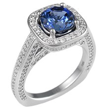 Royal Engagement Ring with Blue Sapphire