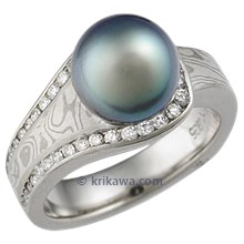 Mokume Embrace Engagement Ring with Sea of Cortez Pearl