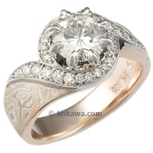 Mokume Pave Swirl Engagement Ring with Moissanite