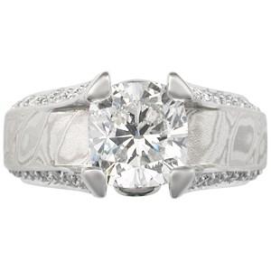 Juicy Light Engagement Ring with Platinum Mokume