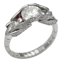 Dragonfly Engagement Ring with Rubies