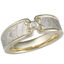 Summer Mokume Wedding Band with Curls