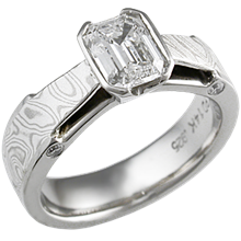 White Mokume Bridge Engagement Ring with 0.95 ct Emerald Cut Diamond