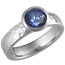 Modern Hammered Engagement Ring with Blue Sapphire