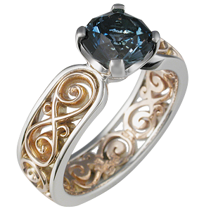 Modern Infinity Engagement Ring with Celestial Compass Sapphire