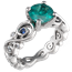 Contemporary Infinity Engagement Ring with Emerald, Blue Sapphires and Diamonds