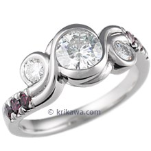 Three Stone Swirl Engagement Ring with Purple Diamonds