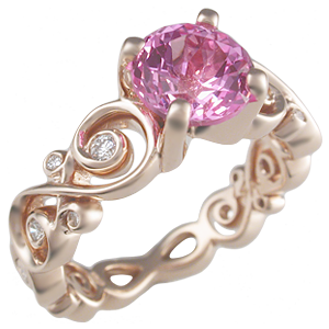 Contemporary Infinity Engagement Ring with Lab Created Pink Sapphire