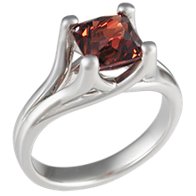 Carved Wing Engagement Ring with Garnet