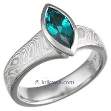 Mokume Flare Engagement Ring with Lab Grown Emerald