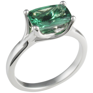 Angel Solitaire Engagement Ring with Tsavorite