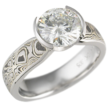 Mokume Solitaire Engagement Ring with Darkened Winter