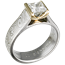 Mokume Cathedral Engagement Ring with Yellow Gold Head