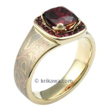 Trigold Mokume Red Carpet Engagement Ring