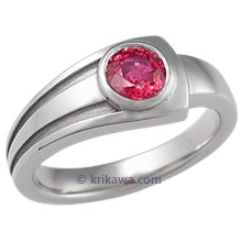Modern Embrace Engagement Ring with Ruby