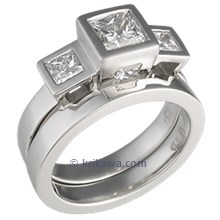Modern Cube Three Stone Engagement Ring with Shadow Band