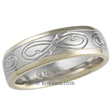 Hand Engraved Ornate Infinity Wedding Band, Two Tone