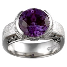 Mokume Curls Engagement Ring with Alexandrite  - top view