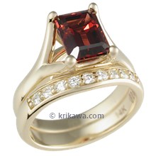 Angel Solitaire Engagement Ring with Emerald Cut Garnet