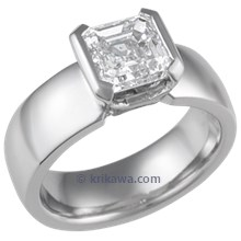 Modern Straight, Tapered Head Engagement Ring with Asscher