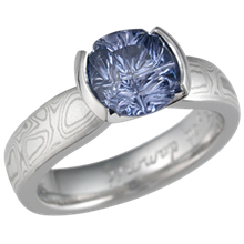 Mokume Solitaire Tapered Engagement Ring with Medicine Wheel Sapphire