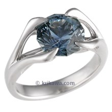 Carved Branch Engagement Ring with Celestial Compass Sapphire