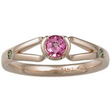 Modern Branch Engagement Ring with Pink Sapphire in Rose Gold  - top view