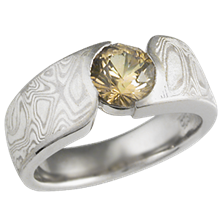 Mokume Wave Engagement Ring with Yellow Sapphire