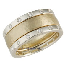Hammered Yellow Gold Wedding Band with Green Gold Diamond Bands