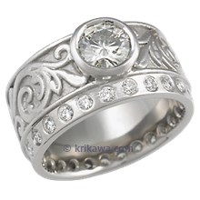 Western Floral Engagement Ring with Moissanite