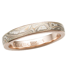 Champagne Mokume Wedding Band, 3mm