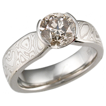 Mokume Solitaire Tapered Engagement Ring with Champagne Diamond