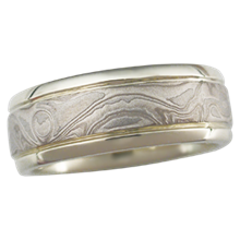 Platinum Mokume Wedding Band in Green Gold with Grooves