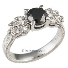 Antique Leaf Engagement Ring with Black Diamond