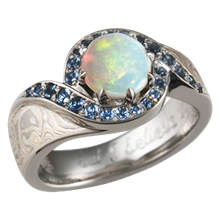 Mokume Pave Swirl Engagement Ring with Opal