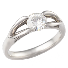 Carved Branch Engagement Ring with 5.5mm Moissanite