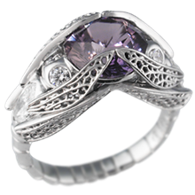 Dragonfly Engagement Ring with Purple Sapphire