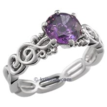 Harmony Treble Clef Engagement Ring with Amethyst