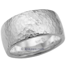 Wide Hammered Wedding Band