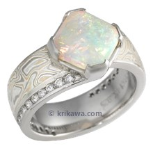 Mokume Angled Wave Engagement Ring with Opal
