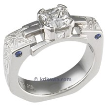 White Mokume Falling Water Engagement Ring with Radiant Cut Diamond
