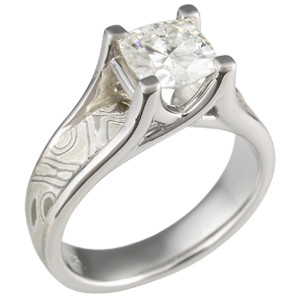 Winter Mokume Wing Engagement Ring with Moissanite