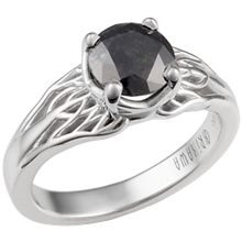 Tree of Life Engagement Ring with Black Diamond