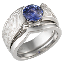 Mokume Wave Bridal Set with Blue Sapphire