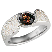 Champagne Mokume Wave Engagement Ring with Cognac Diamond