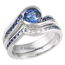 Carved Wave Bridal Set with Blue Sapphires